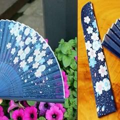 실크 벚나무 부채(블루)
