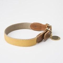 [반달펫]반려동물 인식표 이름표 가죽목걸이(옐로우)