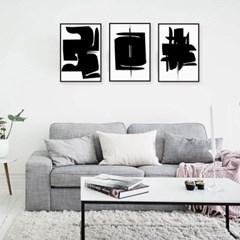 패브릭 포스터 추상화 그림액자 블랙 3개 세트