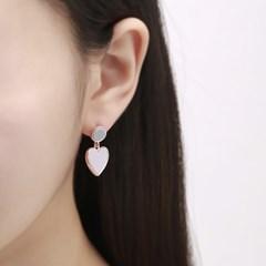투톤퍼플 하트 귀걸이