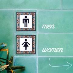스페인 핸드프린트 화장실 타일 도어 사인 15 x 15 cm