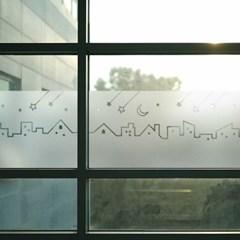 창문 유리창 컷팅안개시트지 어느마을의 별헤는밤01_(743751)