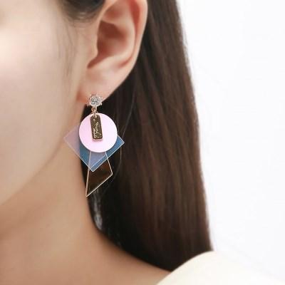 언발 홀로그램 핑크 귀걸이