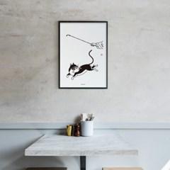 유니크 인테리어 디자인 포스터 M 의기양양 고양이 한국민화