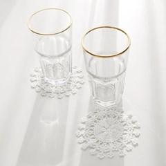 골드라인 유리컵 2P+컵받침 2P 세트