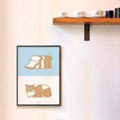 유니크 일본 인테리어 디자인 포스터 M 식빵 굽는 고양이