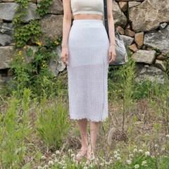 hemline wave banding knit skirt