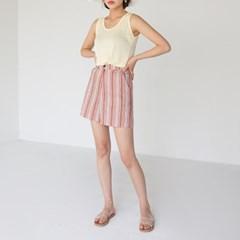 high linen stripe shorts