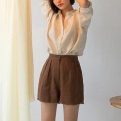 fringe detail linen shorts