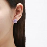 호마이카 퍼플 별빛 하트 귀걸이