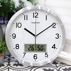무소음알루미늄온습도벽시계350