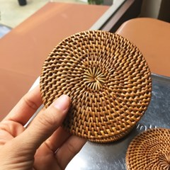 라탄 원형 코스터 컵받침