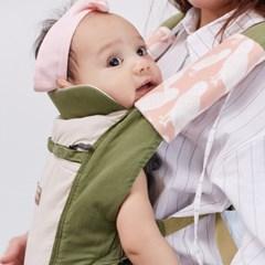 [율그란] 오가닉 아기띠침받이 라인리프베이지