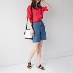 boyish 4-length denim shorts