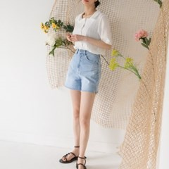 boyish cutting denim shorts