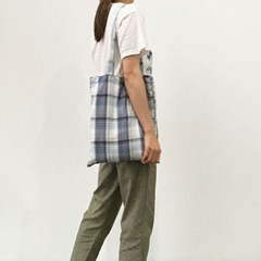 summer blue check light cotton bag