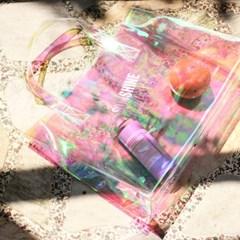 [레이지라운지]썸머 PVC비치백 - 핑크홀로그램