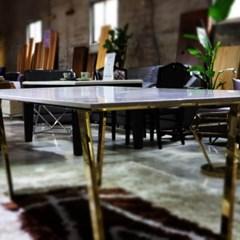 화이트 마블 갤럭시 시두스 화이트 스텐레스 프레임 6인용 식탁