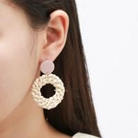 라탄 핑크 라운드 귀걸이