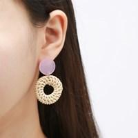 라탄 핑크 호마이카 귀걸이