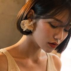 linen flower pearl earring