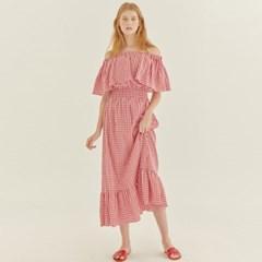 LOVE CHECK OFF SHOULDER DRESS (RED)