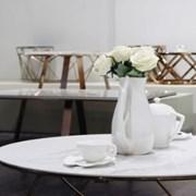 화이트 마블 세라믹 원형 거실 테이블