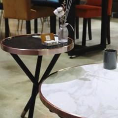 화이트마블 세라믹 원형 쇼파 테이블(2color)