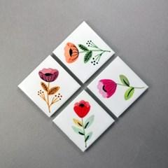 보타닉 플라워 자석 홀더 귀여운 마그넷 4종