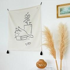 키티 드로잉 패브릭 포스터 / 가리개 커튼