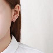 심플 서클 큐빅 귀걸이