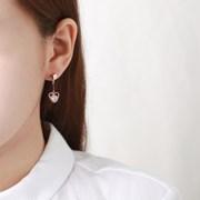 하트 더블라인 드롭 귀걸이