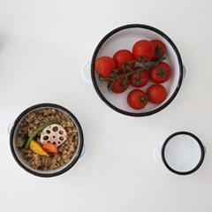 enamel series] handle bowl (3size) -black