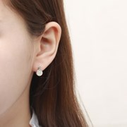 [925실버 귀걸이] 레인보우 문스톤 큐빅