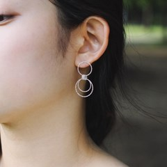 linked silver ring earring