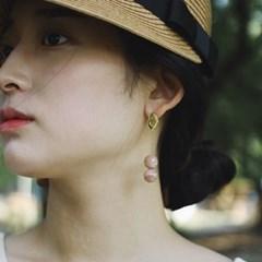 peach moon stone ball earring