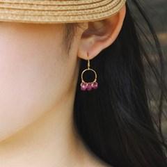 triple pink agate earring