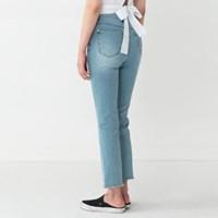 semi boots-cut cutting denim pants