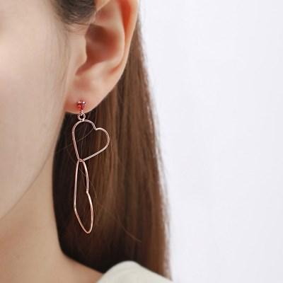 더블하트 루비포인트 귀걸이