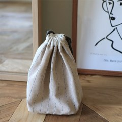 Linen pouch bag _beige