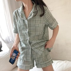 [안녕잘자] 당일발송 듀얼체크 여름반팔 잠옷세트