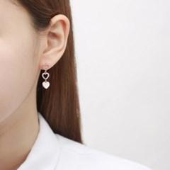 트리플 하트 드롭 귀걸이