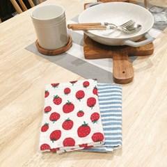 DISH CLOTH NEW 딸기 & 블루 스트라이프 행주 2p set