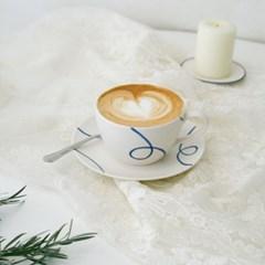 모던 블루라인 커피잔세트 + 유리잔