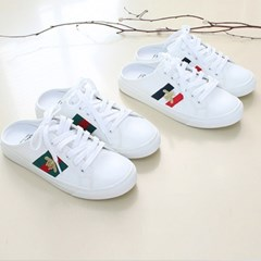 kami et muse Gold bee embroidery backless sneakers_KM18w004