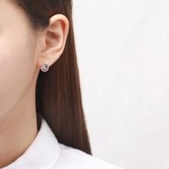 핑크 단추 귀걸이