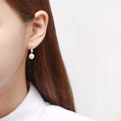 투명 진주드롭 귀걸이