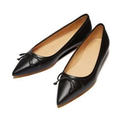 Classic ribbon flat shoes Black_1cm (소가죽)