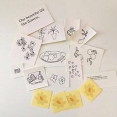 flower drawing sticker set