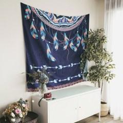 태피스트리 벽장식 패브릭 포스터 - 드림 캐쳐 네이비 (150x130cm)